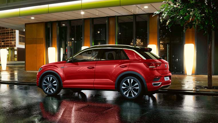 Red T-Roc from the side- Barons VW